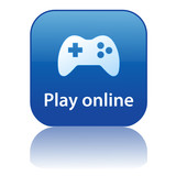 PLAY ONLINE Web Button (video games gamepad joypad control pad) poster