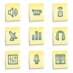 Media web icons, yellow notes series
