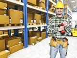 handyman in warehouse