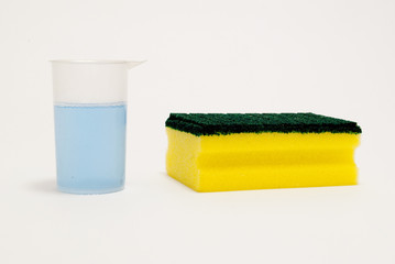 kitchen sponge and cleaning fluid