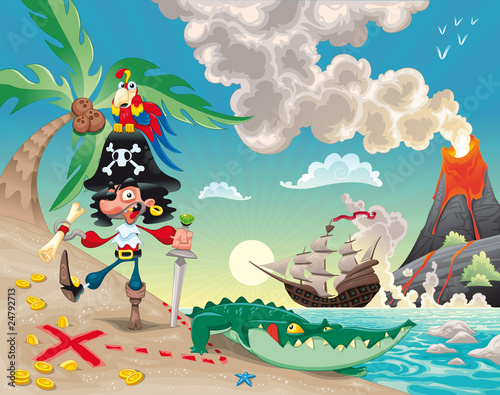 Fototapeta Pirate on the isle. Funny cartoon and vector scene.