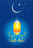 Ramadan evening, stars and crescents poster