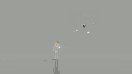 Gläserne Figur, die nach vorne läuft