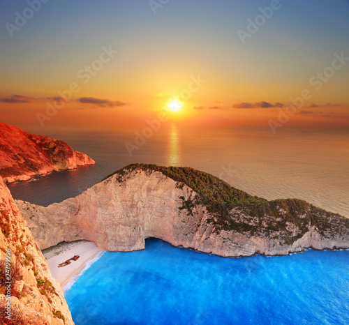 A panorama over Zakynthos island with a shipwreck on the beach