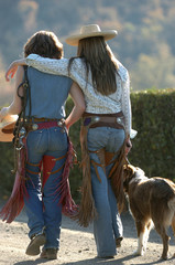 Cowgirls walking home