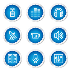 Media web icons, blue stickers series