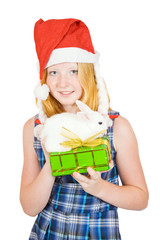 girl in santa hat with gift and rabbit