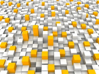 Abstract orange and white blocks background 3d