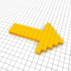 Right arrow 3d icon in grid. Rendered illustration.