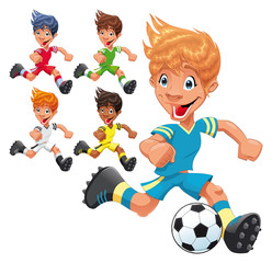 Soccer Players. Cartoon and vector sport characters.