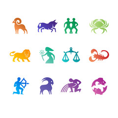 Colorful zodiac signs