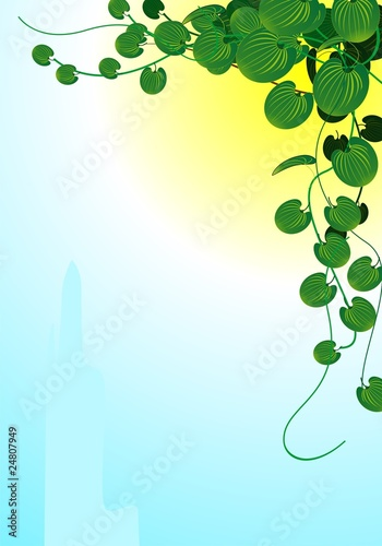 Illustration of leaf in a yellow background