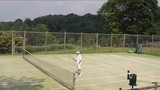 middle age handsome senior retired man practicing tennis poster