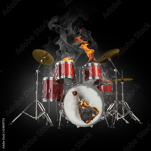 Plexiglas Vlam Drums in fire