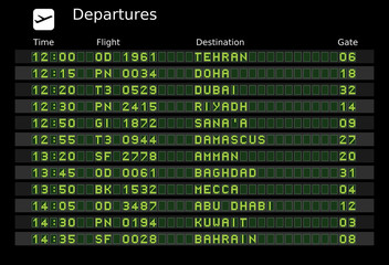 Middle East departure destinations