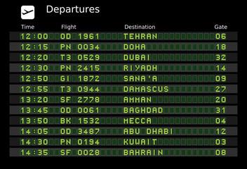 Middle East departure destinations