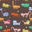 Funny seamless design of multi-colored cats