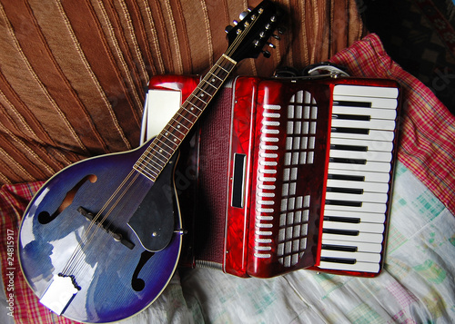 Mandolin and accordian in colour