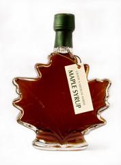 Maple syrup in maple shape bottle