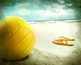 Fototapeta Volleyball in the sand with sandals