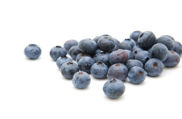 fresh ripe blueberries i; isolated on white background;