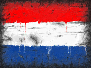 Flag of Netherlands painted on old wall