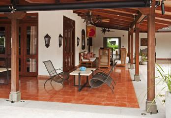 Resort patio in the tropics