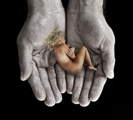 Woman in hand