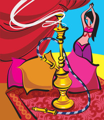 hookah and belly dancer
