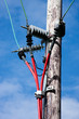 Electricity Pole With Bright Red Cables against Blue Sky