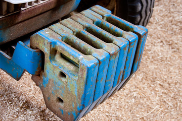 Agricultural Tractor front Balance Weights Blue with Wood Chip B
