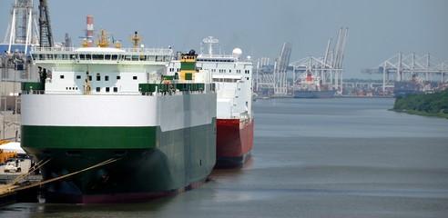 Ships moored at seaport Savannah Georgia