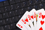 Play cards on a keyboard concepts of online gambling poster