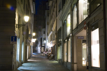 Street of Zürich at night