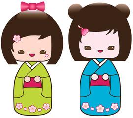Set of two Kokeshi Japanese dolls, vector
