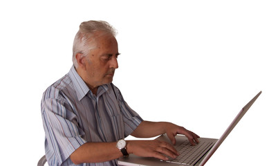 casual old business man workers computer laptop journalist