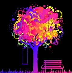 abstract colorful tree with bench. Nature decoration.