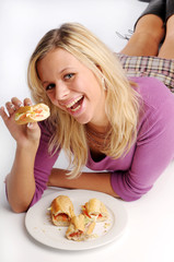 Atractive blonde woman with baguette