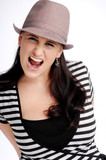 Atractive brunette woman with hat in striped T-shirt