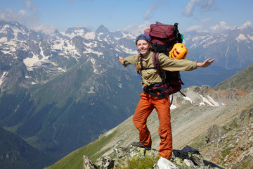 Happy woman with backpack