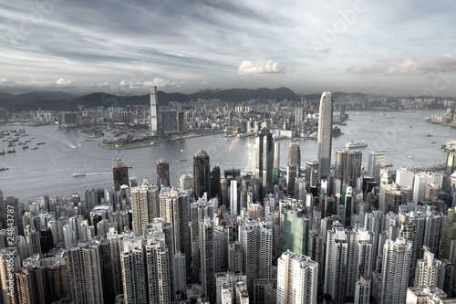 Hong Kong city in low saturation