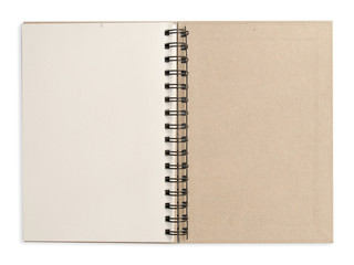 open white note book .