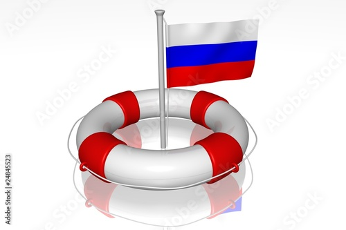 White life buoy with flag of Russia