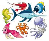 Fototapety Marine life. Isolated cartoon and vector characters.