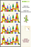 Building blocks visual puzzle - find two identical images poster