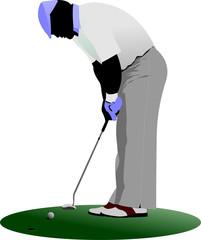 Golfer hitting ball with iron club. Vector illustration