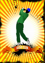 Poster with Golf players. Vector illustration