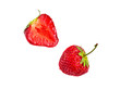 Two fresh red ripe strawberries
