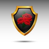 Shield with roses. Vector.