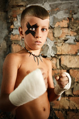 a little kick-boxing boy